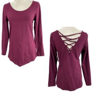 Torrid Burgundy Purple Lattice Back LS Foxy Tee-00